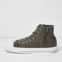 River Island Mensdark Green Canvas Hi Top Sneakers