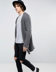 Asos Longline Cardi In Boucle Yarn Charcoal Grey