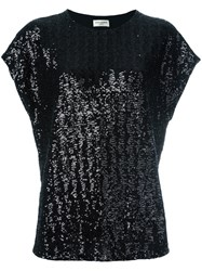 Saint Laurent Sequin Embellished T Shirt Black