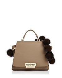 Zac Posen Eartha Iconic Top Handle Fur Strap Leather Satchel Tan Gold