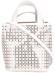 Azzedine Alaia Cut Out Pattern Tote White
