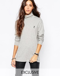 Religion Oversized High Neck Long Sleeve Polo Neck Top With Small Skull Grey
