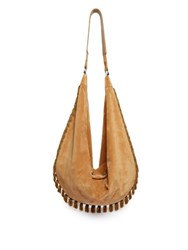 The Row Sling Fringed Trim Suede Bag Light Tan