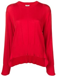 Kenzo Pleated Knit Jumper Red
