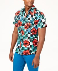 Reason Floral Check Shirt Red Black Blue White