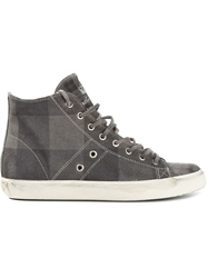 Leather Crown Checked Hi Top Sneakers Grey