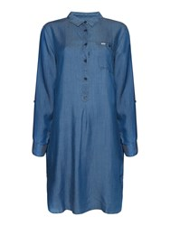 Relaxed Fit Roll Sleeve Chambray Shirt Dress Chambray