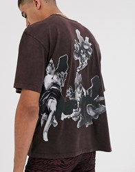 Heart And Dagger Tee With Side Back Print Brown