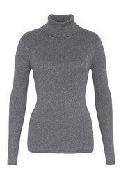 Hallhuber Ribbed Turtle Neck Jumper With Lurex Grey