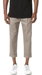 Helmut Lang Stretch Twill Front Cuff Suiting Trousers Taupe Slate