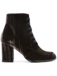 Castaner Lace Up Ankle Boots Leather Velvet Rubber Brown