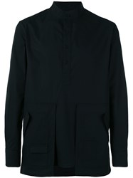 Letasca Oversized Pocket Shirt Men Cotton S Black