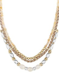 Lucky Brand Sun Kissed Moments Semi Precious Rock Crystal Dual Tone Beaded Leather Collar Necklace Gold