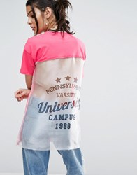 Asos T Shirt With Cut About Varsity Print Pink