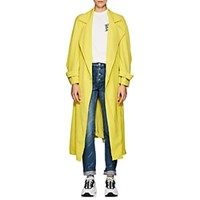 Koche Striped Crepe Trench Coat Yellow