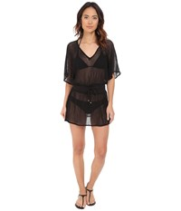 Vitamin A Swimwear Lucette Plunge Tunic Cover Up Honeycomb Mesh Black Women's Swimwear