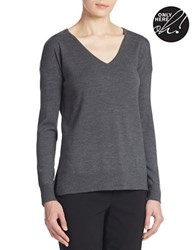 Lord And Taylor Plus Merino Wool Knit V Neck Tunic Graphite Heather