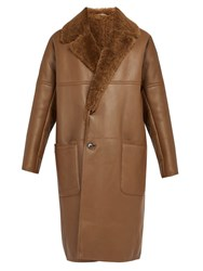 Berluti Shearling Lined Leather Coat Camel