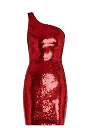Saint Laurent One Shoulder Sequin Embellished Mini Dress Red