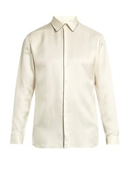 Burberry Contrast Trim Silk Shirt Cream Multi