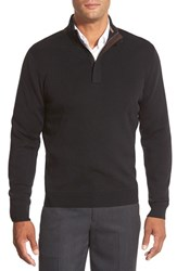 Men's Big And Tall John W. Nordstrom Merino Wool Quarter Zip Pullover Black Caviar