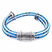 Anchor And Crew Blue Dash Larne Silver Rope Bracelet Silver Blue