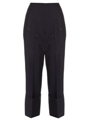 Jil Sander Bruce Exaggerated Cuff Cropped Trousers Navy