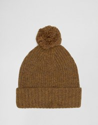 Asos Lambswool Blend Bobble Beanie In Mustard Mustard Yellow