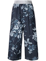 I'm Isola Marras Cropped Floral Print Trousers Blue