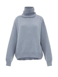 Raey Cropped Displaced Sleeve Roll Neck Wool Sweater Blue