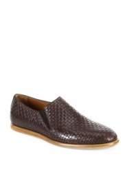 Aquatalia By Marvin K Irwin Woven Leather Loafers Dark Brown