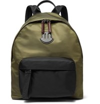 Moncler Leather Trimmed Nylon Backpack Green