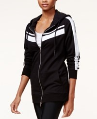 Guess Shay Striped Hoodie Jet Black