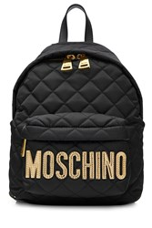 Moschino Quilted Backpack With Logo Black