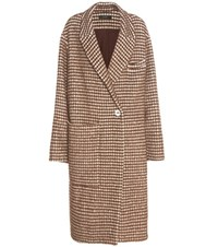 Ellery Nixon Houndstooth Wool Mohair And Alpaca Blend Coat Brown