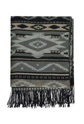 Forever 21 Fringed Southwestern Patterned Shawl Grey Black