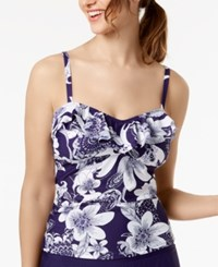 Island Escape Spring Time Shore Printed Ruffled Tankini Top Created For Macy's Swimsuit Navy Floral