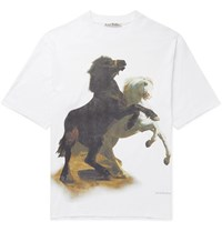 Acne Studios Oversized Printed Cotton Jersey T Shirt White