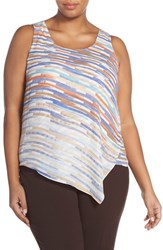 Plus Size Women's Nic Zoe 'Painted Ombre' Asymmetrical Overlay Top Multi