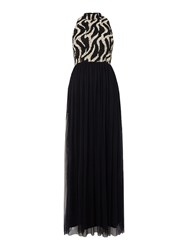 Lace And Beads Sleeveless High Neck Maxi Dress Black