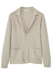 Mango Men's Lapel Cotton Cardigan Beige