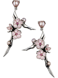 Shaun Leane 'Cherry Blossom' Rhodolite Earrings Metallic