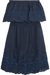 Chelsea Flower Off The Shoulder Embroidered Broderie Anglaise Cotton Dress Navy