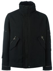 Ermanno Scervino High Neck Zipped Coat Black
