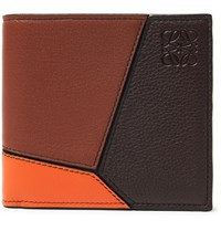 Loewe Puzzle Colour Block Full Grain Leather Billfold Wallet Brown