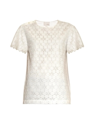 Band Of Outsiders Lace Panel Seersucker Top