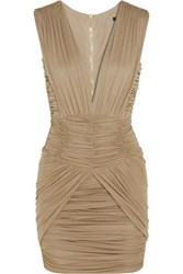 Balmain Ruched Stretch Jersey Mini Dress Taupe