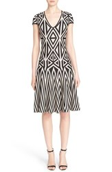 Women's St. John Collection Geometric Knit Fit And Flare Dress