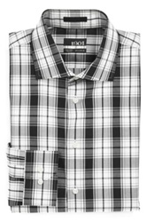 1901 Trim Fit Plaid Non Iron Dress Shirt Black