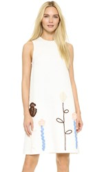 Vika Gazinskaya Crochet Embellished Dress White Multi